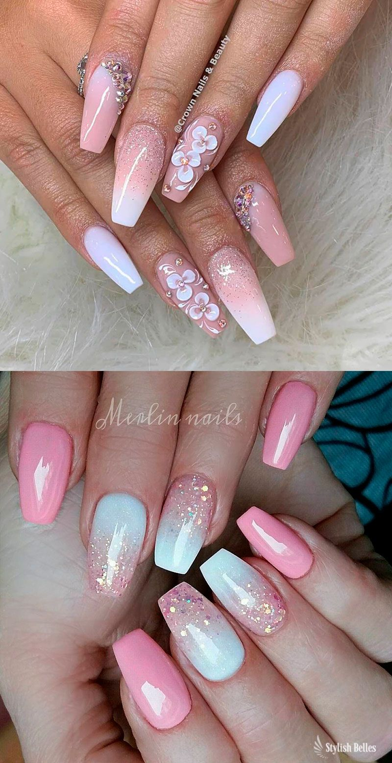 Gorgeous Pink And White Ombre Nails With Glitter Ideas Coffinnails Pinkandwhitenails Glitternails Coffin Nails Designs Ombre Nails Pink Nails