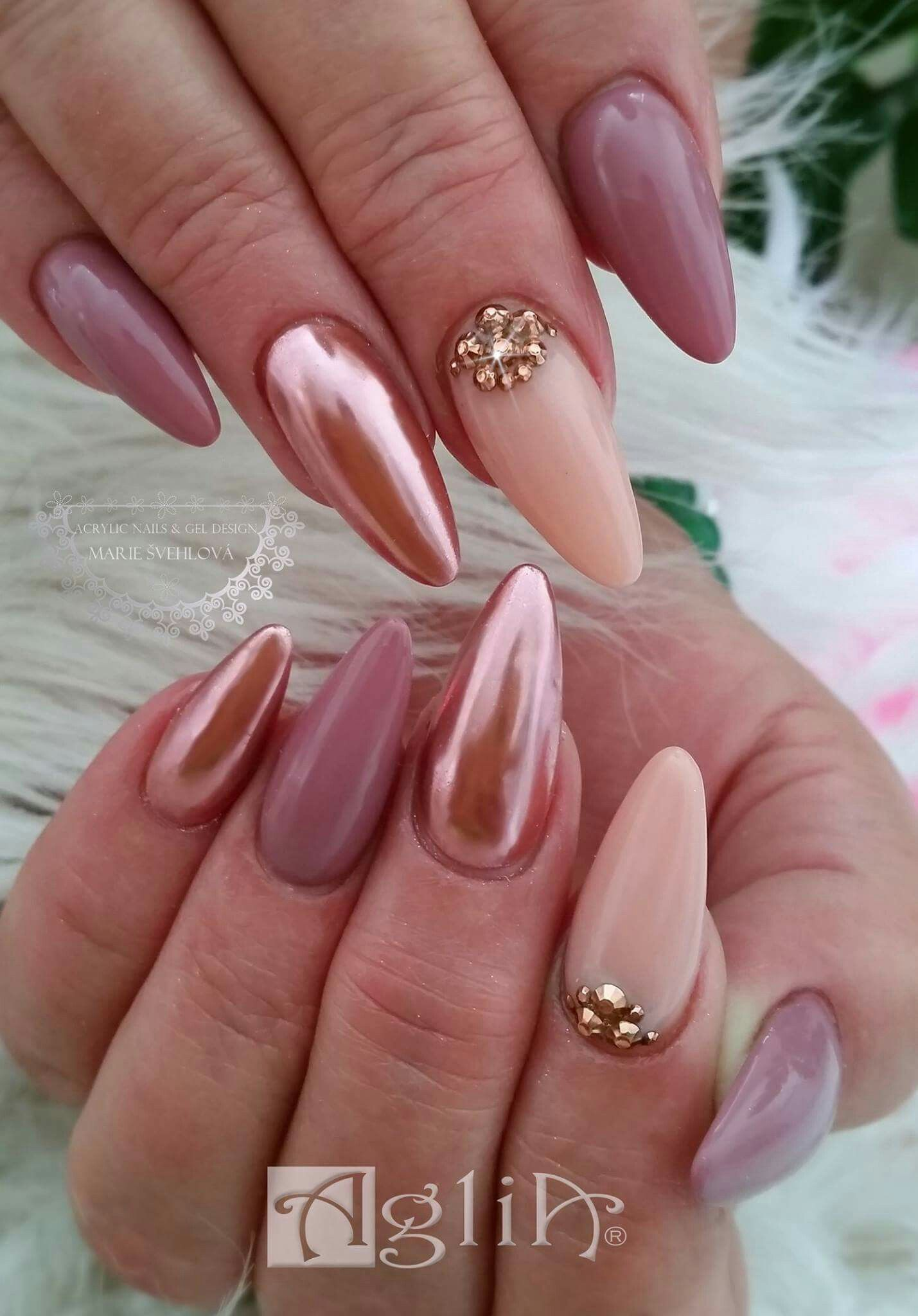Acrylic Nails Gel Design Rose Gold Pigment