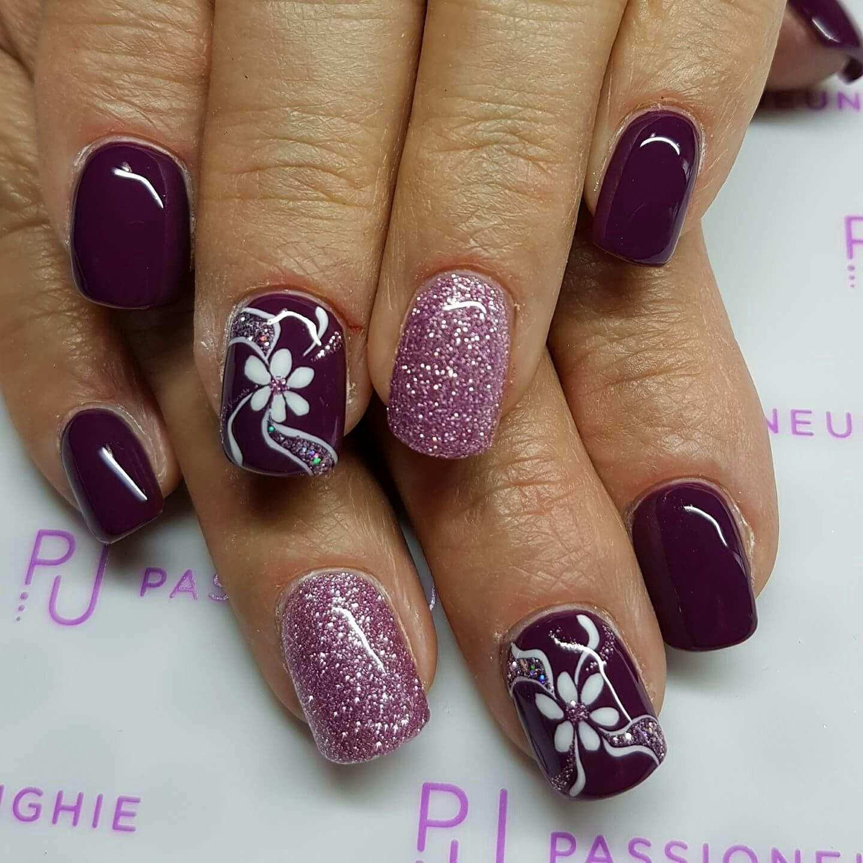 Bordeaux Vinaccio Viola Unique Rosa Glitter Fiori Gelove Nehty Design Nehtu Nehty