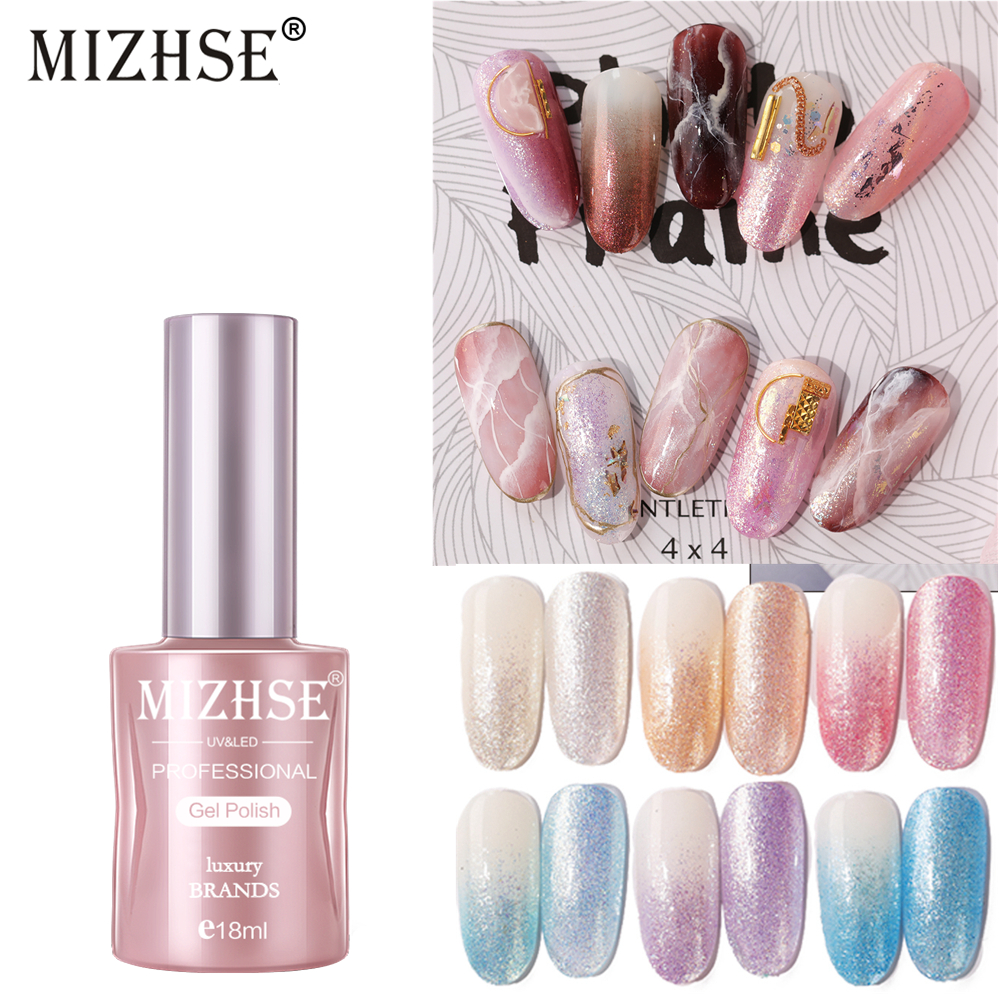 Mizhse Uv Nail Gel Polish Set 6 Colors Pearlescent Muscle Varnishes Soak Off Glitters Manicure Uv Gel Polish Nails Decoration Aliexpress