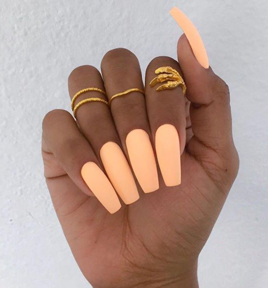 Peach Matte Nails Peach Nails Nails Orange Nails