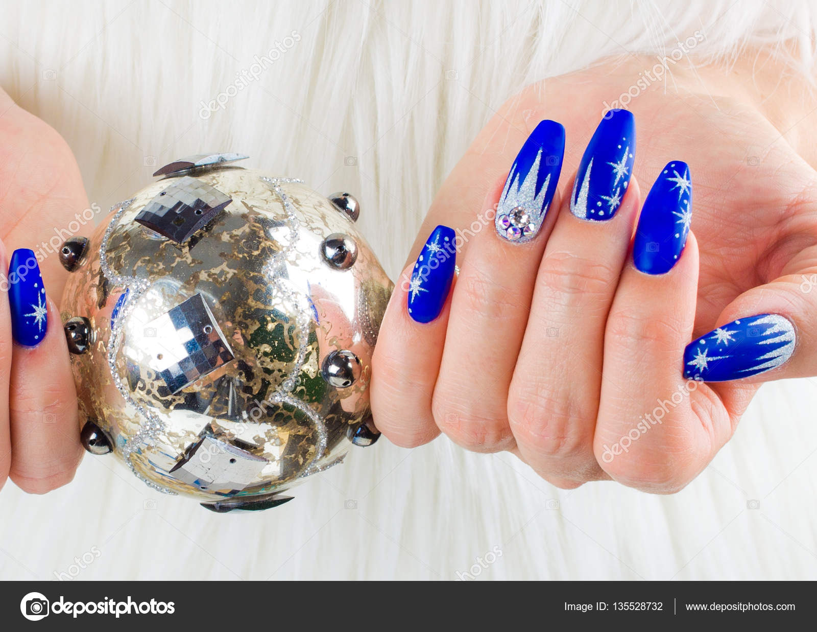 Christmas Blue Nails Stock Photo C Pmmart 135528732