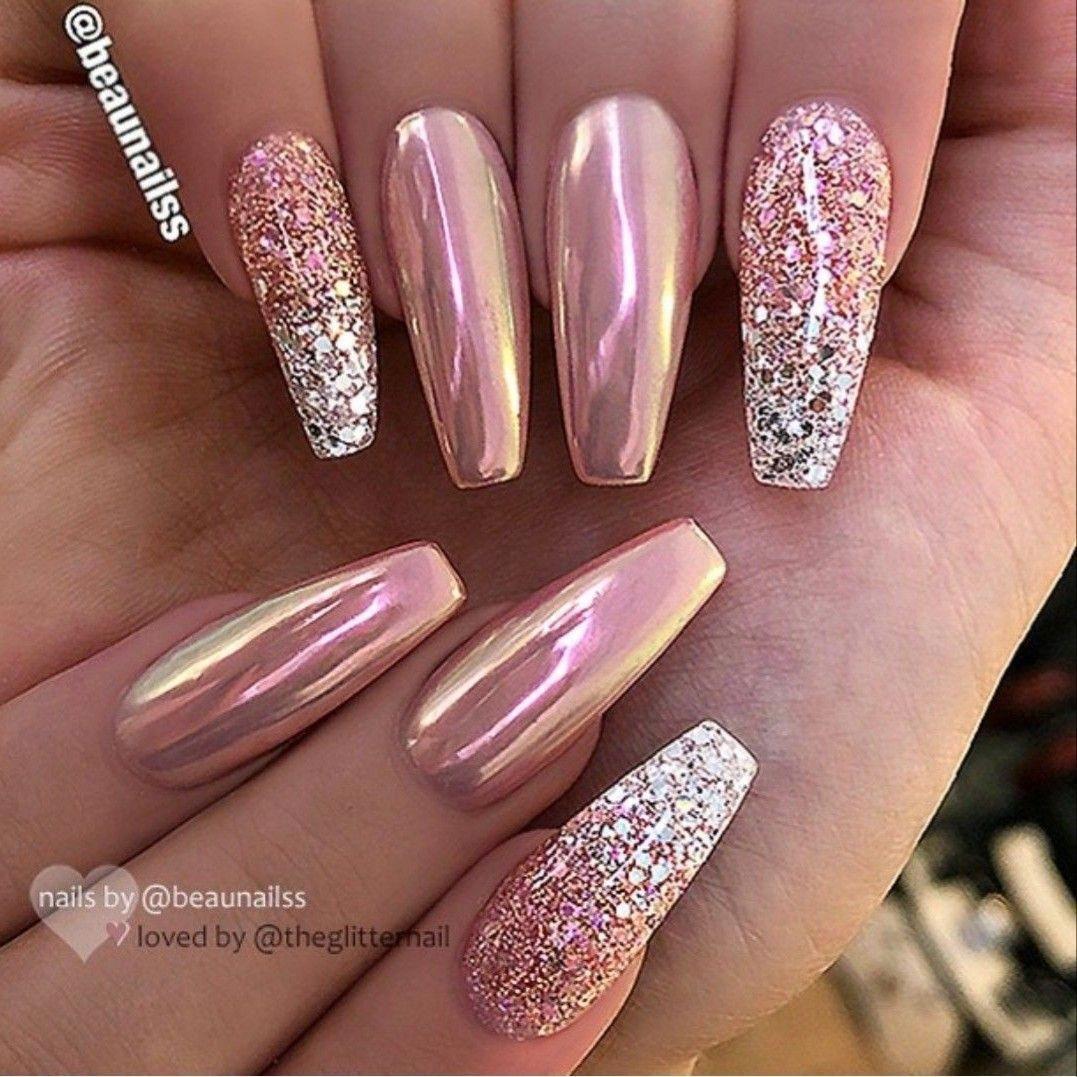 Rose Gold Pink Chrome And Glitter Silver Ombre Nail Ballerina Shape Gel Nail Art Design Acrylicnaildesigns Vzory Na Akrylove Nehty Ombre Nehty Pekne Nehty