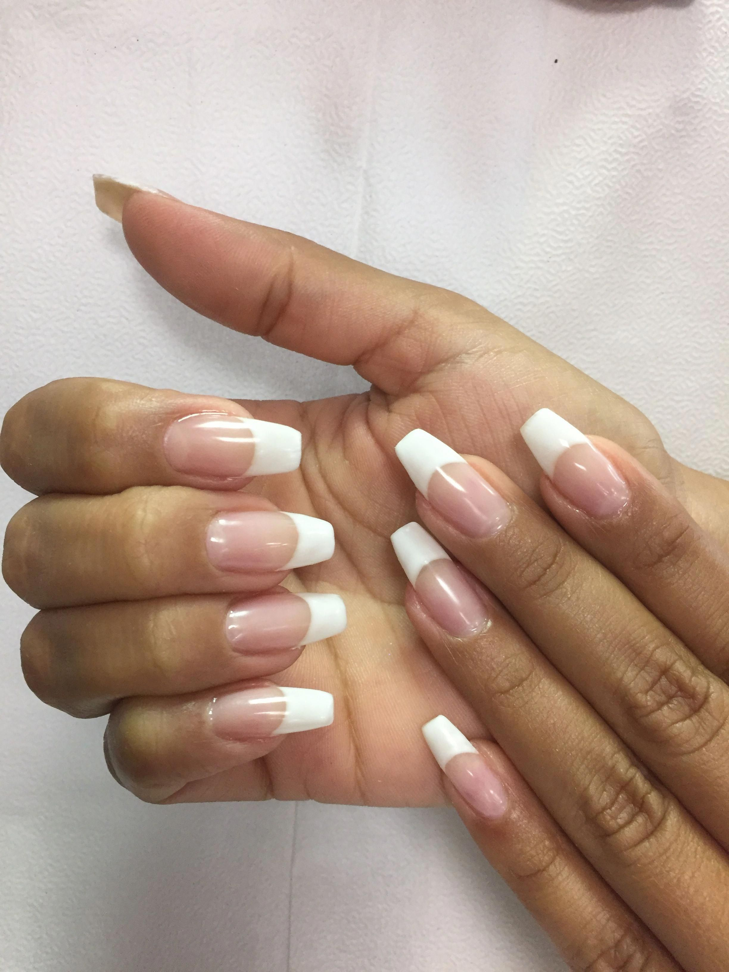 French Nails Blue Tips Cutefrenchnails In 2020 Nehty