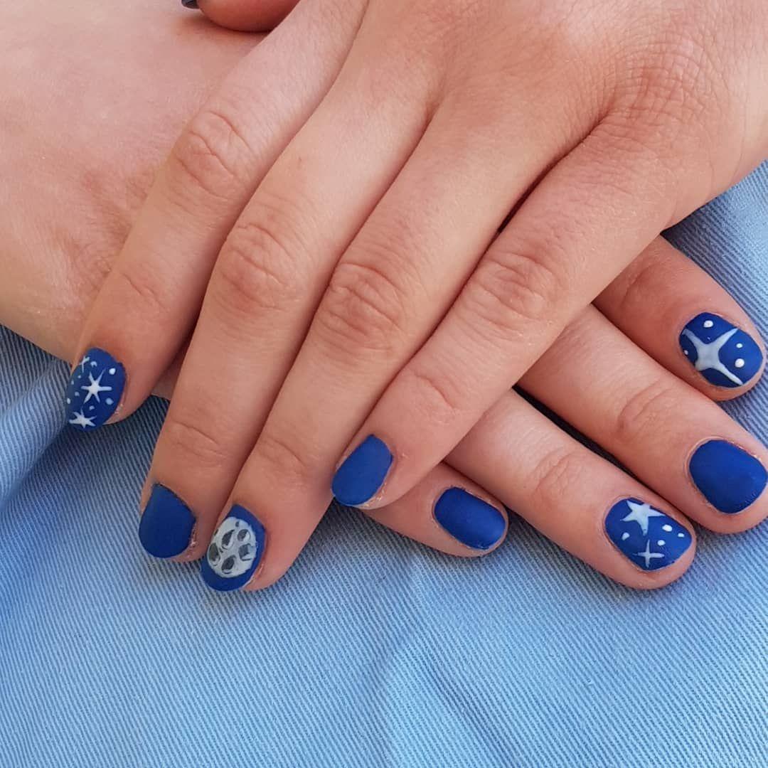 Gel Lak Nailsart Nails Bluenails Blue Bluenails Moon Star Stars Art Nokti Plavo Plavinokti Mesec Zvezde Fashion Nails Blue Nails Nail Pro