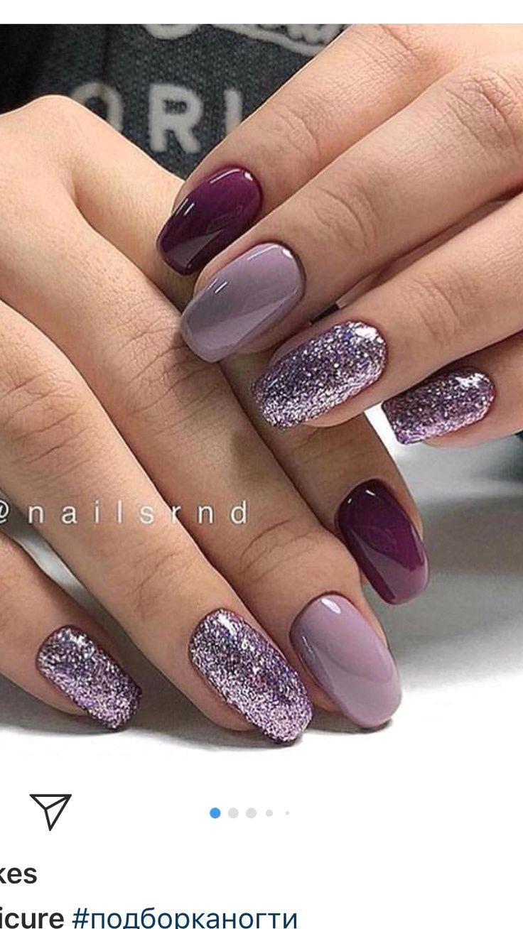 Bright Nails Purple Color So Nice Fialove Nehty Zelene Nehty Bezove Nehty