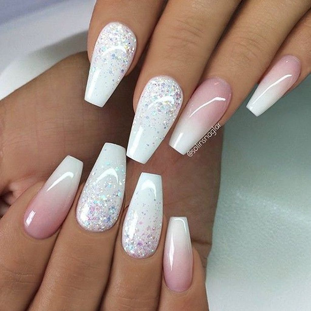 Cool 30 Charming Acrylic Nail Designs Ideas More At Http Trendsoutfits Com 2018 11 13 30 Charming Ac Wedding Nails Glitter Nail Designs Glitter Faded Nails