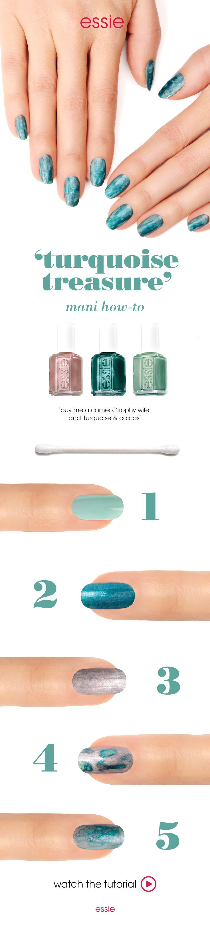 The Soothing Colors Of Turquoise Are Welcome On Any Day The Turquoise Treasure Mani Will Surely Live Up To It S Sophisticated Essie Nail Nails Pretty Nails