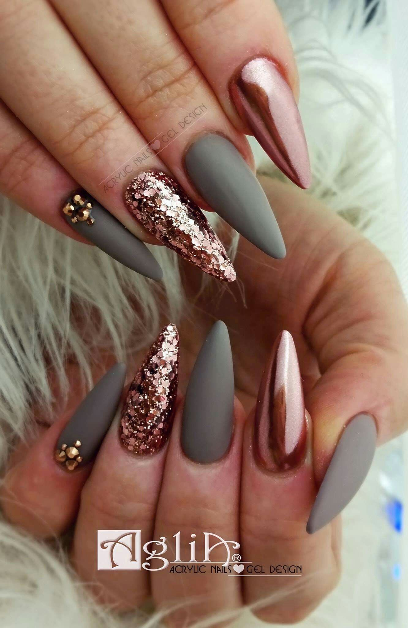 Acrylic Nails Gel Design Matte Nails Chrome Rose Gold Nehty