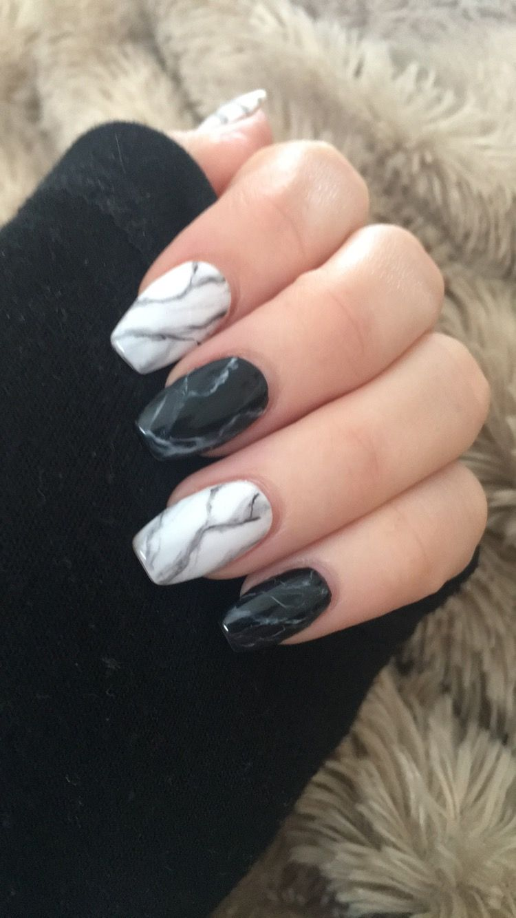 Black And White Marble Nails Mramorove Nehty Gelove Nehty Design Nehtu