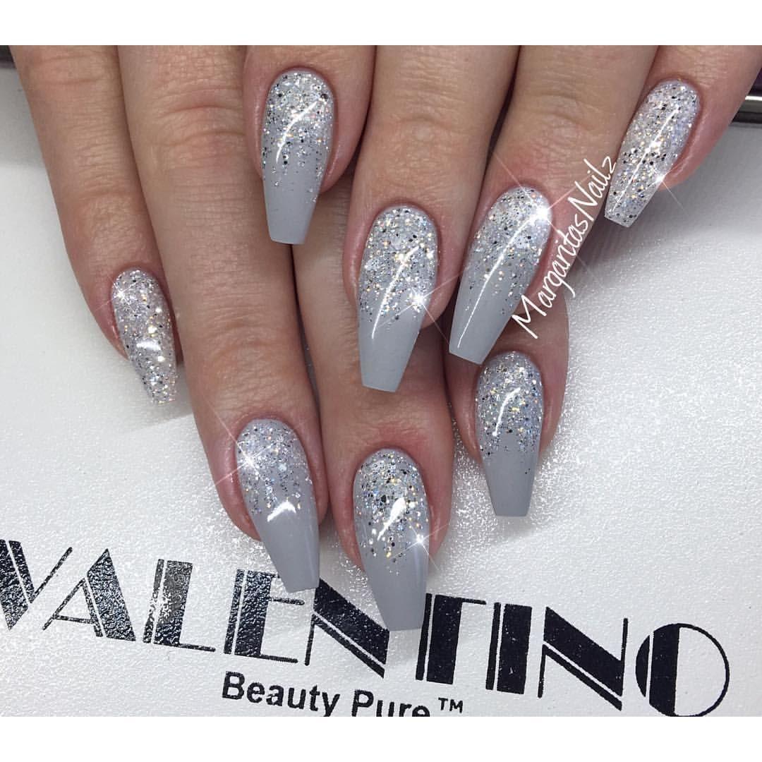 Grey Coffin Nails Glitter Ombre Nail Art Fall Fashion 2016 Design Nehtu Gelove Nehty Umele Nehty