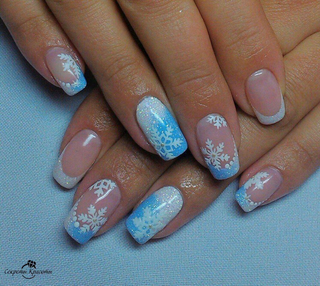 Winter Nails Gelove Nehty Modre Nehty Design Nehtu