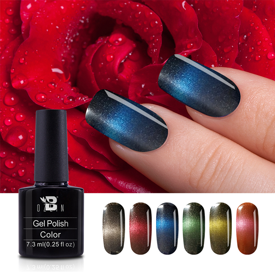 1pcs Strong Effect Magnetic 7 3ml Rianbow Cat Eye Gel Nail Polish Lacquer Soak Off Uv Gel Diy Varnish Nail Art Black Base Needed Nail Gel Aliexpress