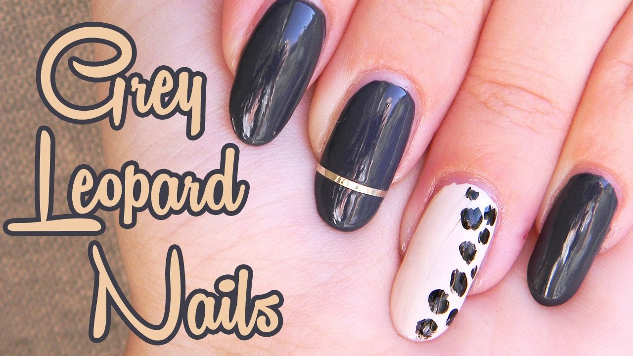 Tmavo Sede Leopardie Nechty Dark Grey Leopard Nails Youtube