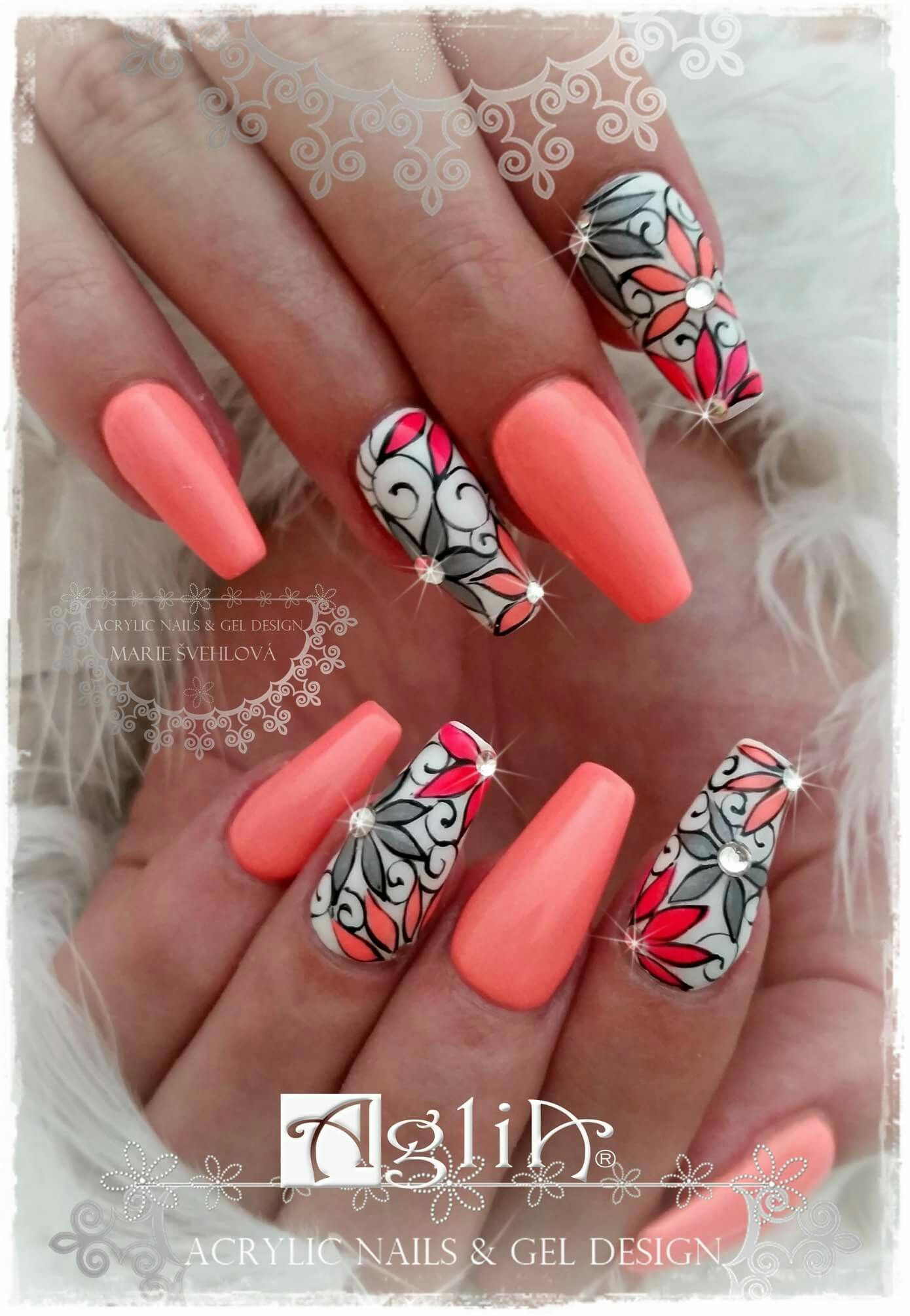 Acrylic Nails Gel Design Summer Time Nehty
