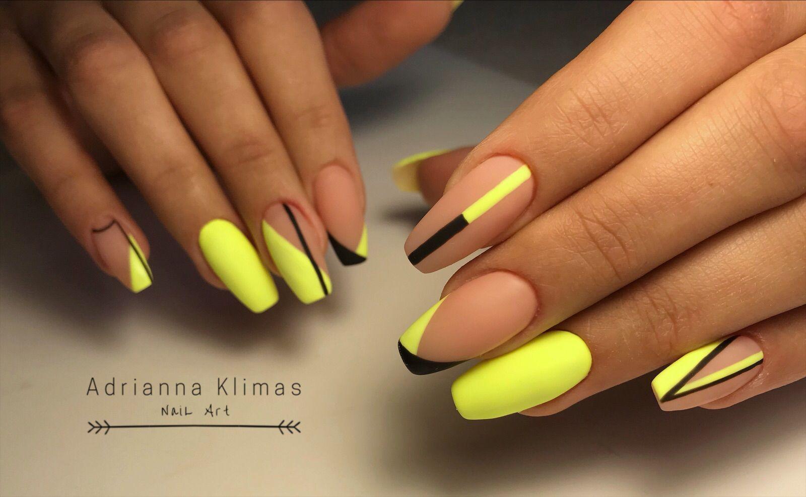 Yellownails Mattenails Geometricnails Design Nehtu Gelove Nehty Nehty