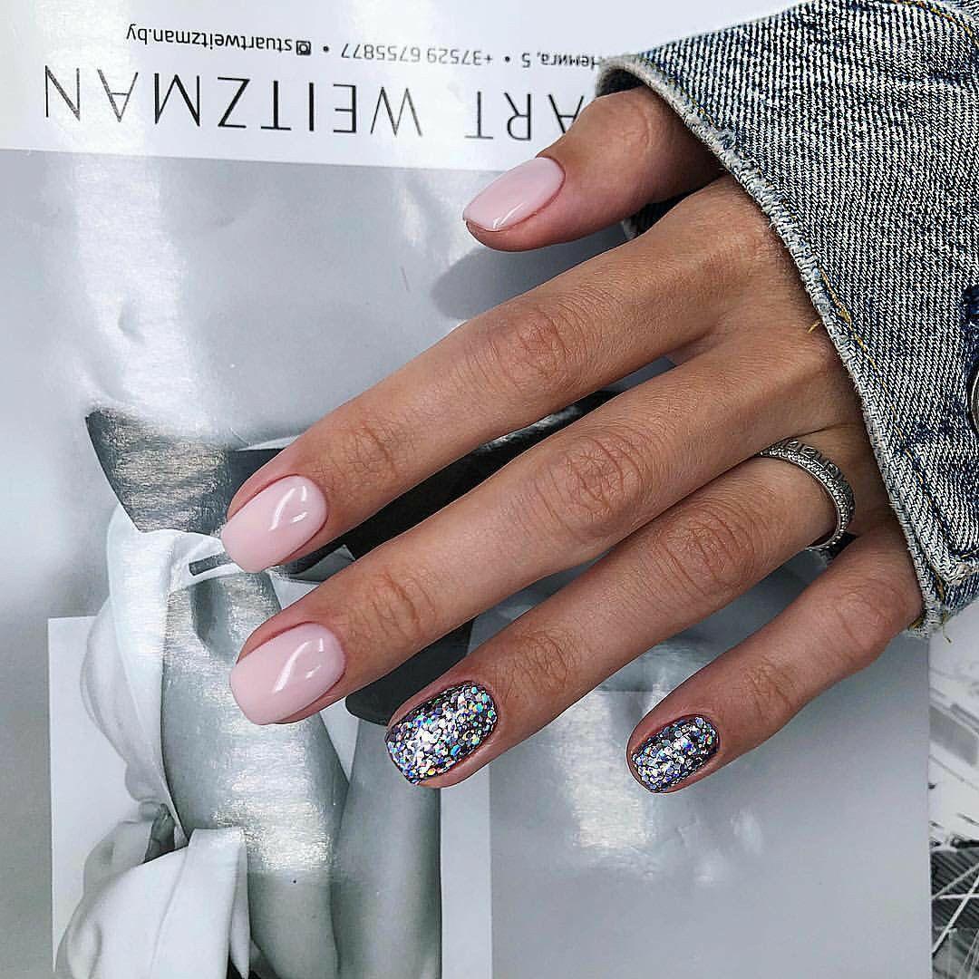 Anchhez Nails Manicure Manikyur Silver Nails Pink Nails Nails