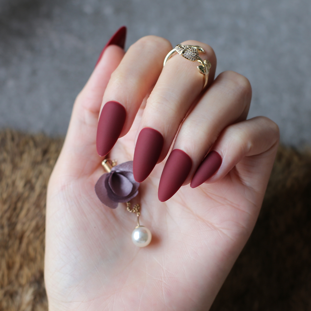 Matte False Nails Water Droplets Wedding Nails Burgundy Stiletto Fake Nails Blue Coffee 28pcs Full Set Nude False Nails Aliexpress
