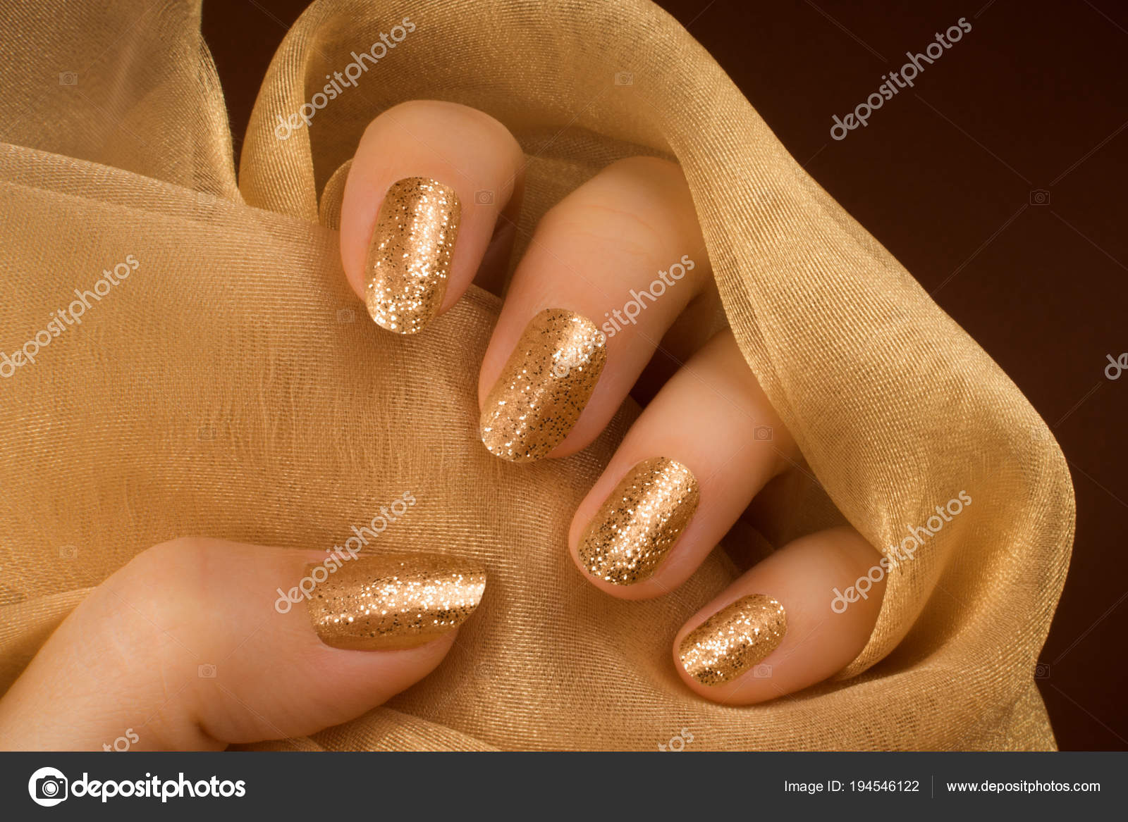Glittered Golden Nails Manicure Stock Photo C Gyurma 194546122