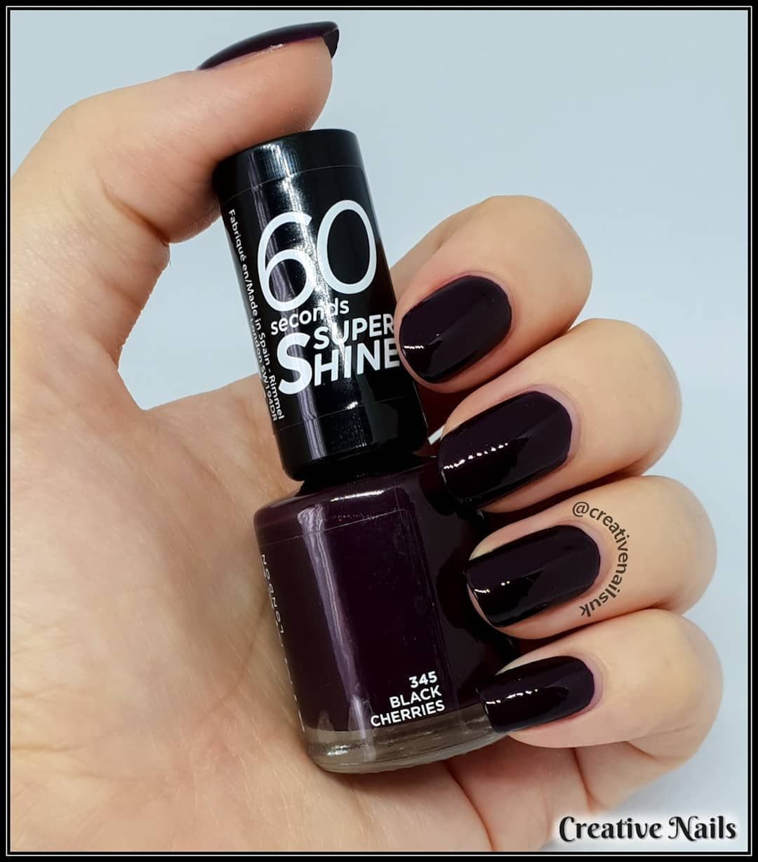 Rimmel London 60 Seconds Super Shine Black Cherries Such A Gorgeous Nail Polish Shade For Your Nails For A Dark Purple Nails Purple Nail Polish Nail Polish