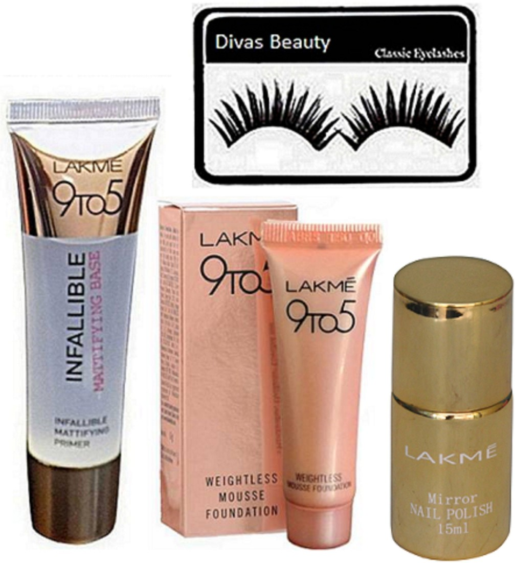 Divas Beauty Eyelashes 9 To 5 Infallible Mattifying Base Face Primer Gel 35 Ml Lakme 9 To 5 Weightless Mousse Foundation Mirror Nail Paint Price In India Buy Divas