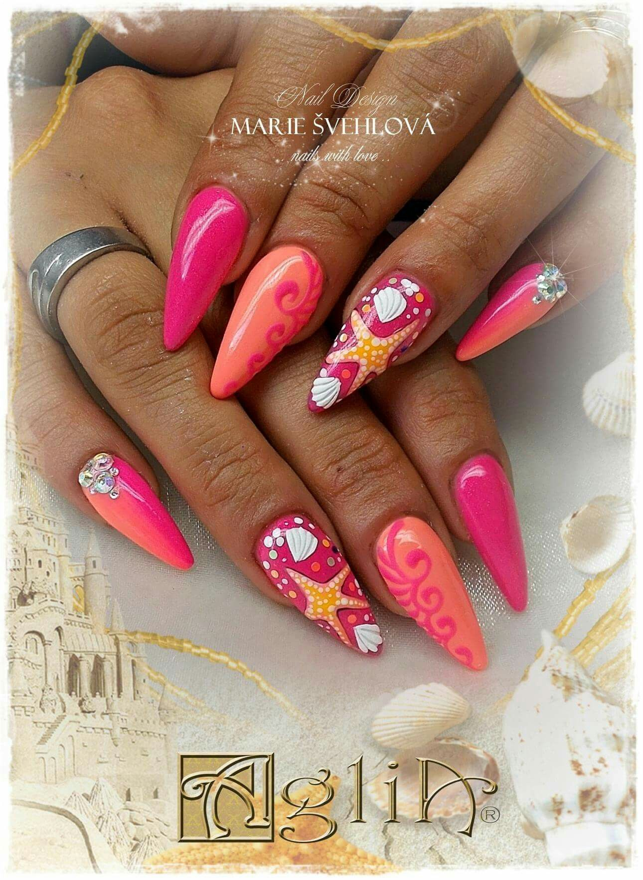 Acrylic Nails Gel Design Summer Nails Work Nails Neon Nails Dream Nails