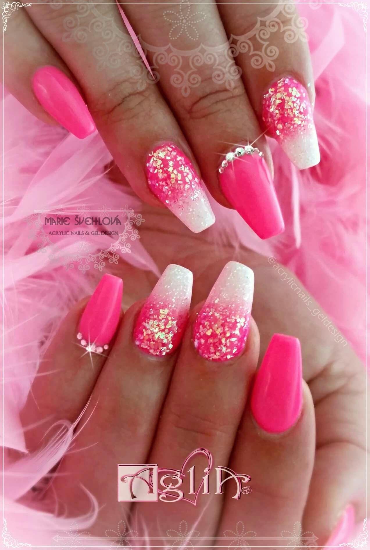 Pink Pink Pink Acrylic Nails Gel Design Nehty