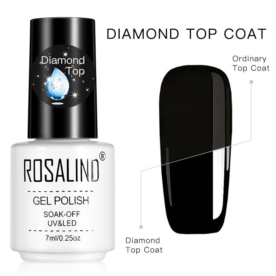 Rosalind Gel Polish Diamond Top Coat Uv Lamp Gel Soak Off Reinforce 7ml Lak Varnish Primer Long Lasting Nail Art Manicure Gel Top Coat Aliexpress