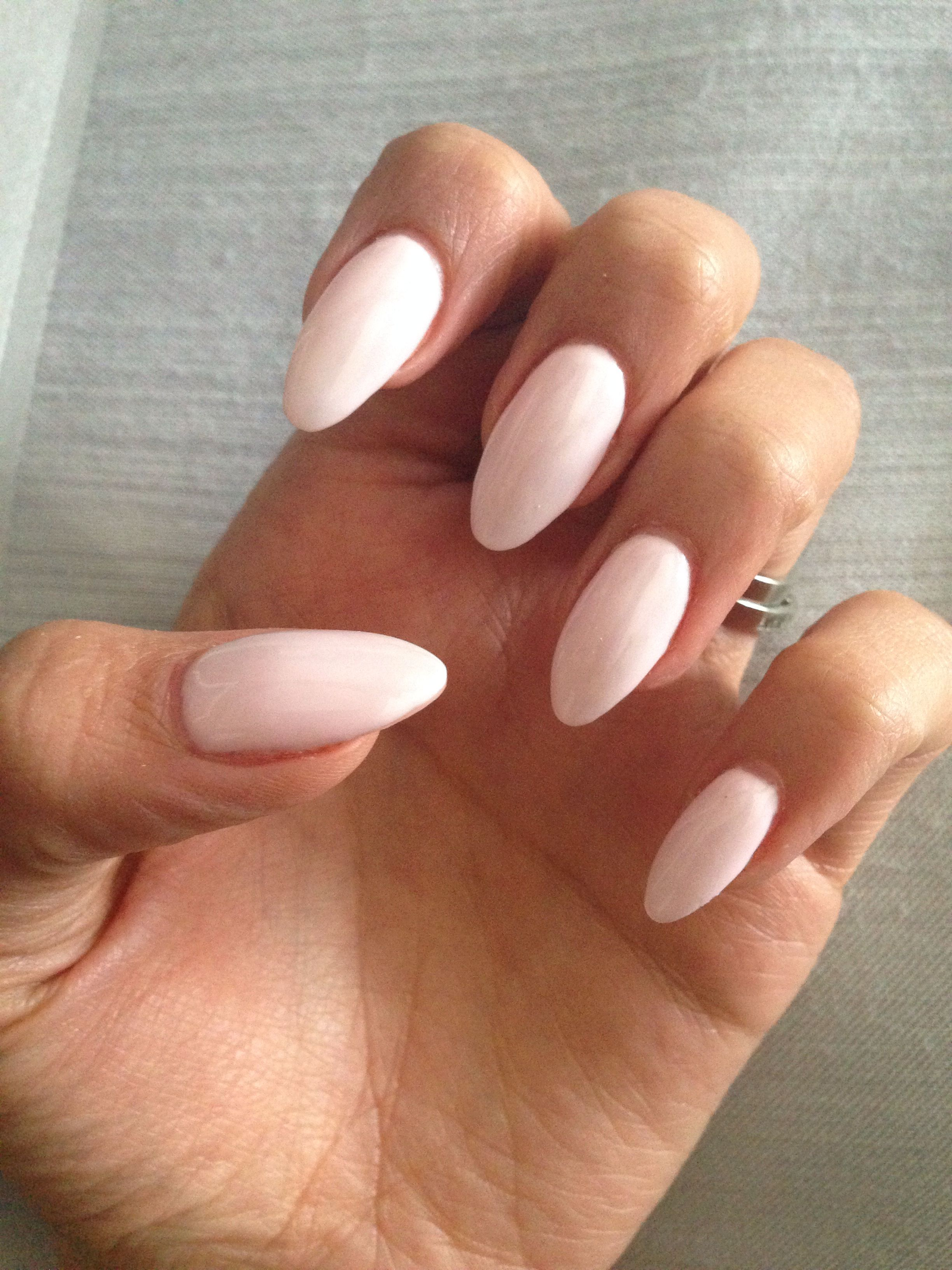 Almond Gel Nails With Baby Pink Gel Polish Almond Gel Nails Trendy Nails Gel Nails