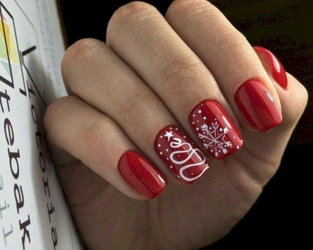 40 Most Popular Winter Nail Art Design Ideas For Christmas Cervene Nehty Gelove Nehty Design Nehtu