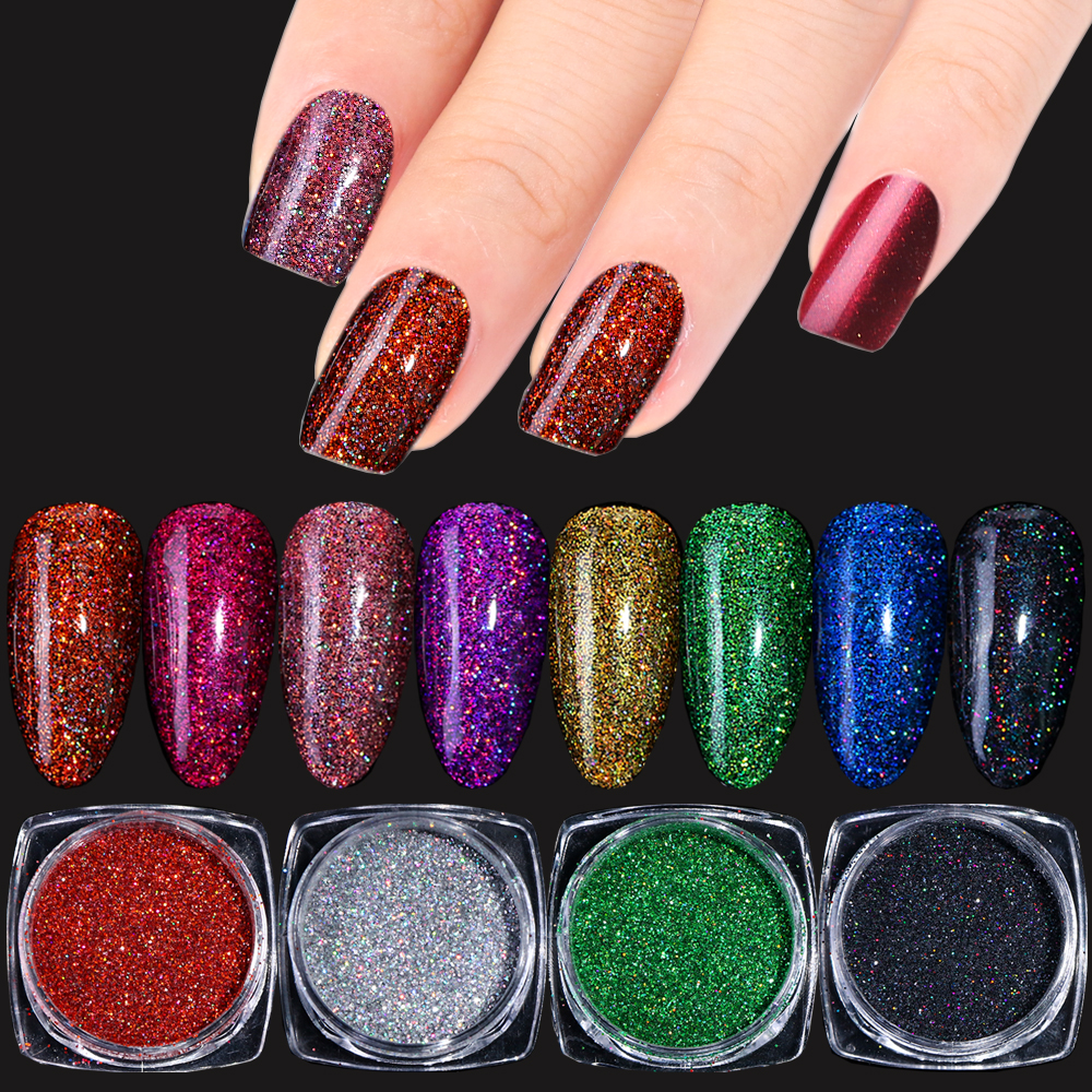 1box Laser Nail Glitter Powder Sparkly Chrome Pigment For Nails Holo Shimmer Dust Gel Polish Flakes Manicure Decoration Trl01 16 Aliexpress