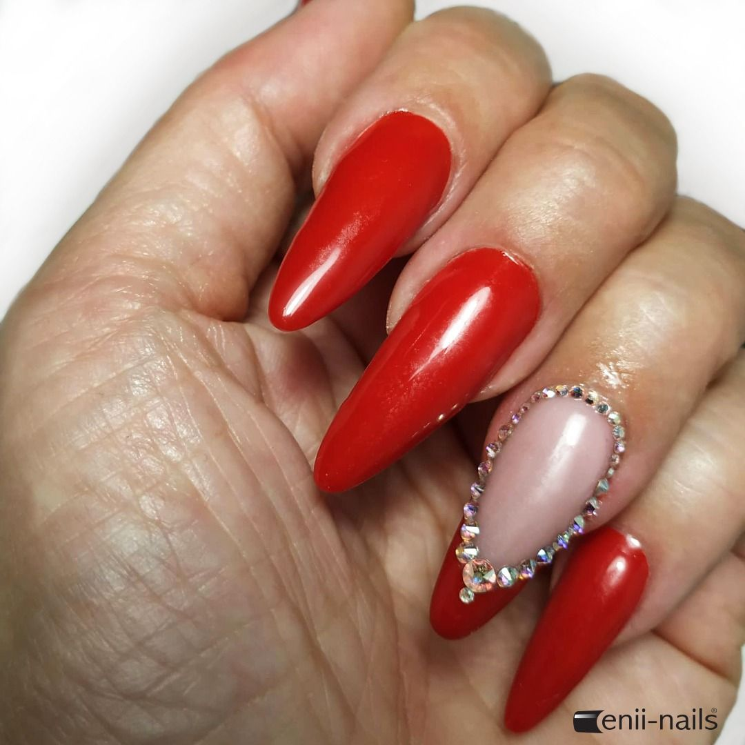 Friday Milano Red Gel Lak Inspiration Poly Gel Light Pink Nail Prep Super Stick Stones And Shine Of Course Rubbersystem Top