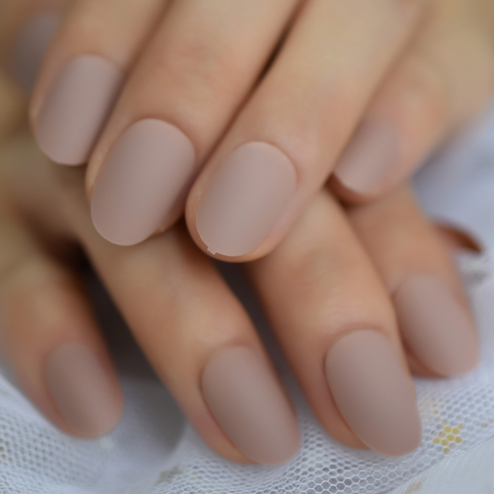 Eraser Matte Short Nail Art Tips Nude Brown Frosted Oval Shape Acrylic Artificial Tip Press On Manicure Buy At The Price Of 1 49 In Aliexpress Com Imall Com