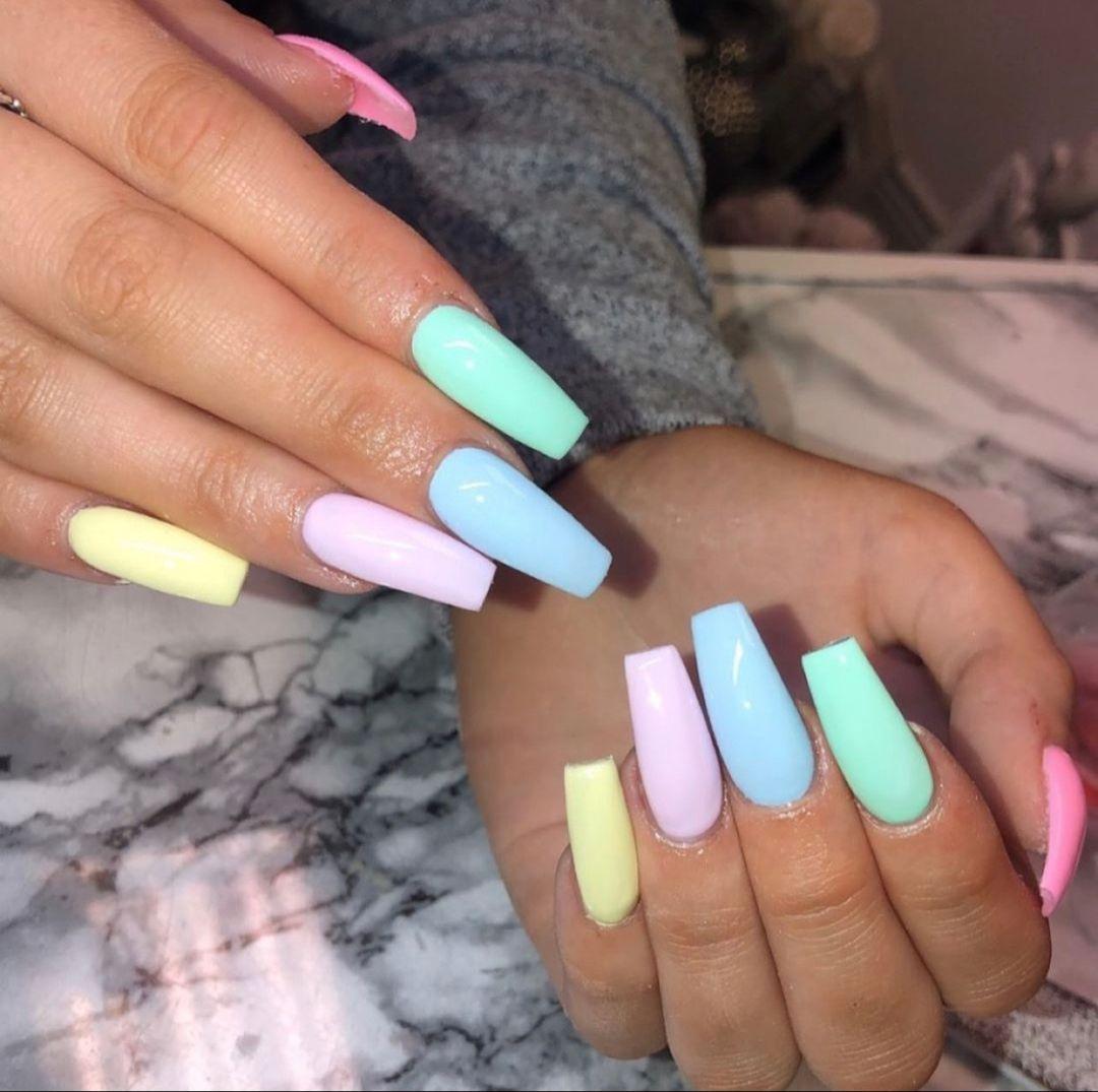 32 Pastel Summer Nail Art Designs To Impress Acrylic Nails Coffin Short Vibrant Nails Summer Acrylic Nails