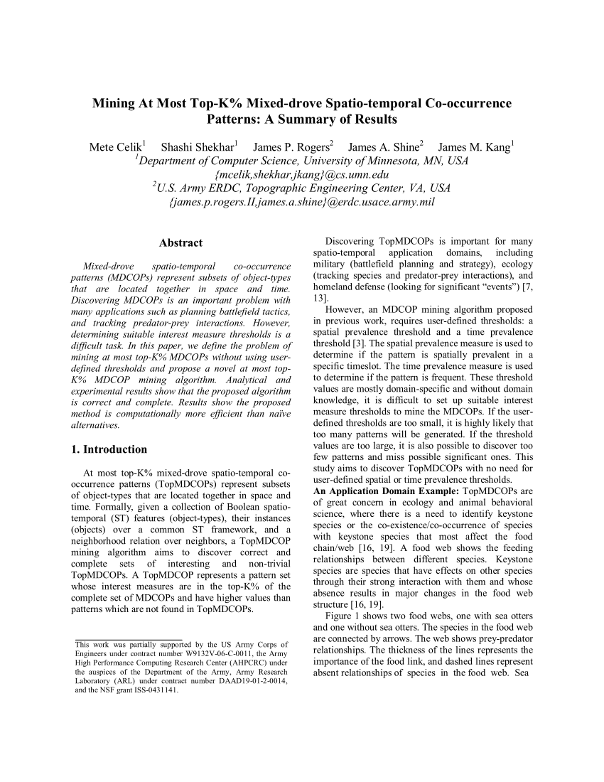 Pdf Mining At Most Top K Mixed Drove Spatio Temporal Co Occurrence Patterns A Summary Of Results
