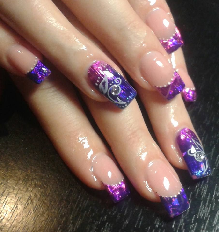 35 Nails Purple Gel Transparentni Folie Kaminek Razitko Nehty Razitka