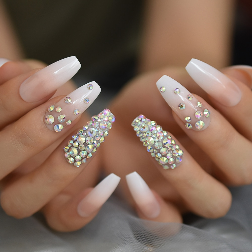 3d Rhinestones Gem Ombre Gradient Pink Nude French Ballerina Press On False Nails Extra Long Natural Coffin Uv Fake Fingers Nail False Nails Aliexpress