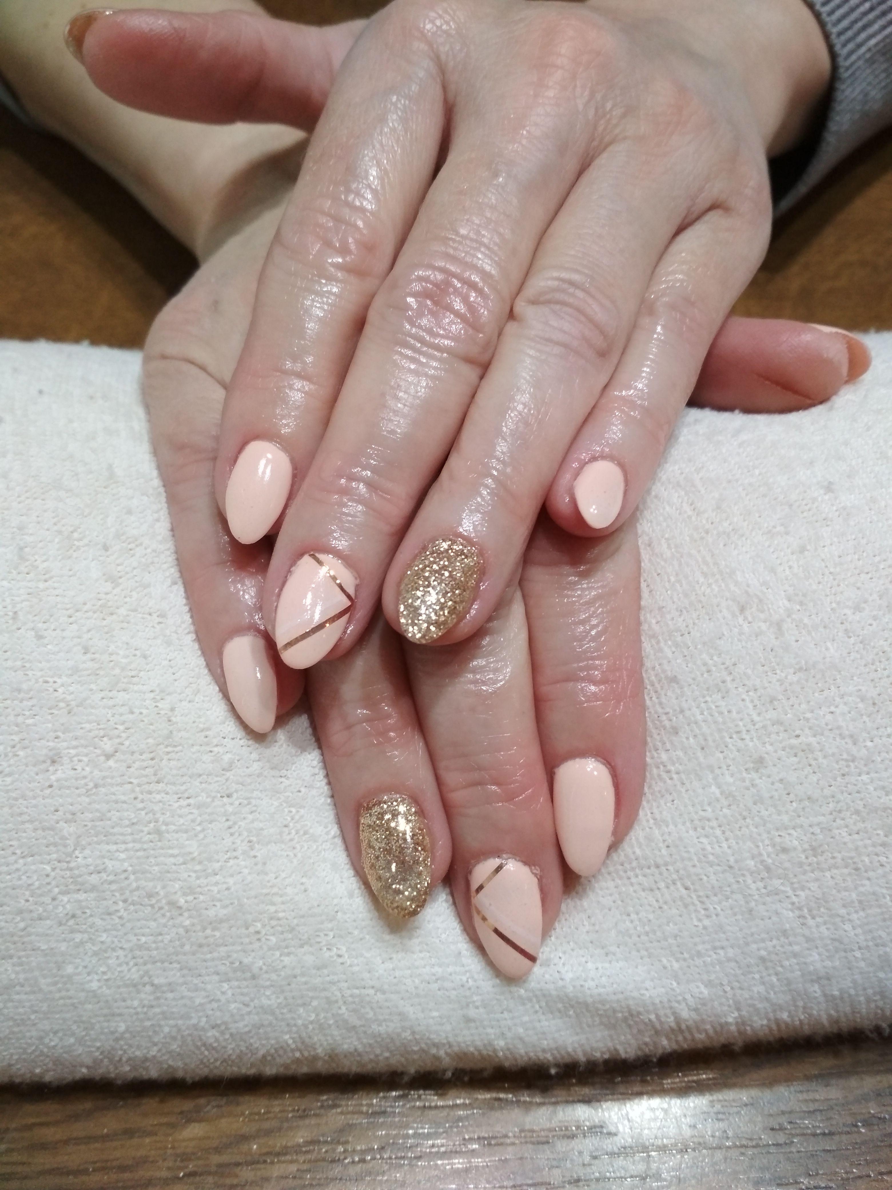 Beige Nails Beige Color Beige Gel Gold Glitter Gold Stripes Gelove Nehty Nehty