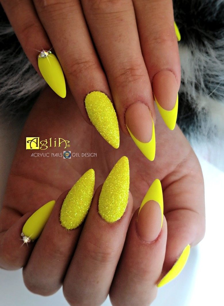 Acrylic Nails Gel Design Neon Yellow Nails