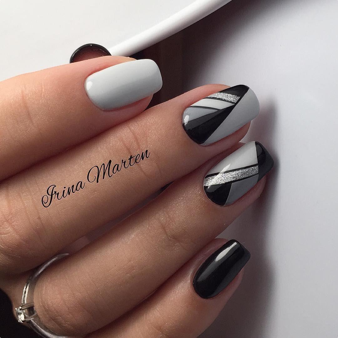Beautiful Blavk White Gray Nail Design Gelove Nehty Design Nehtu Nehty