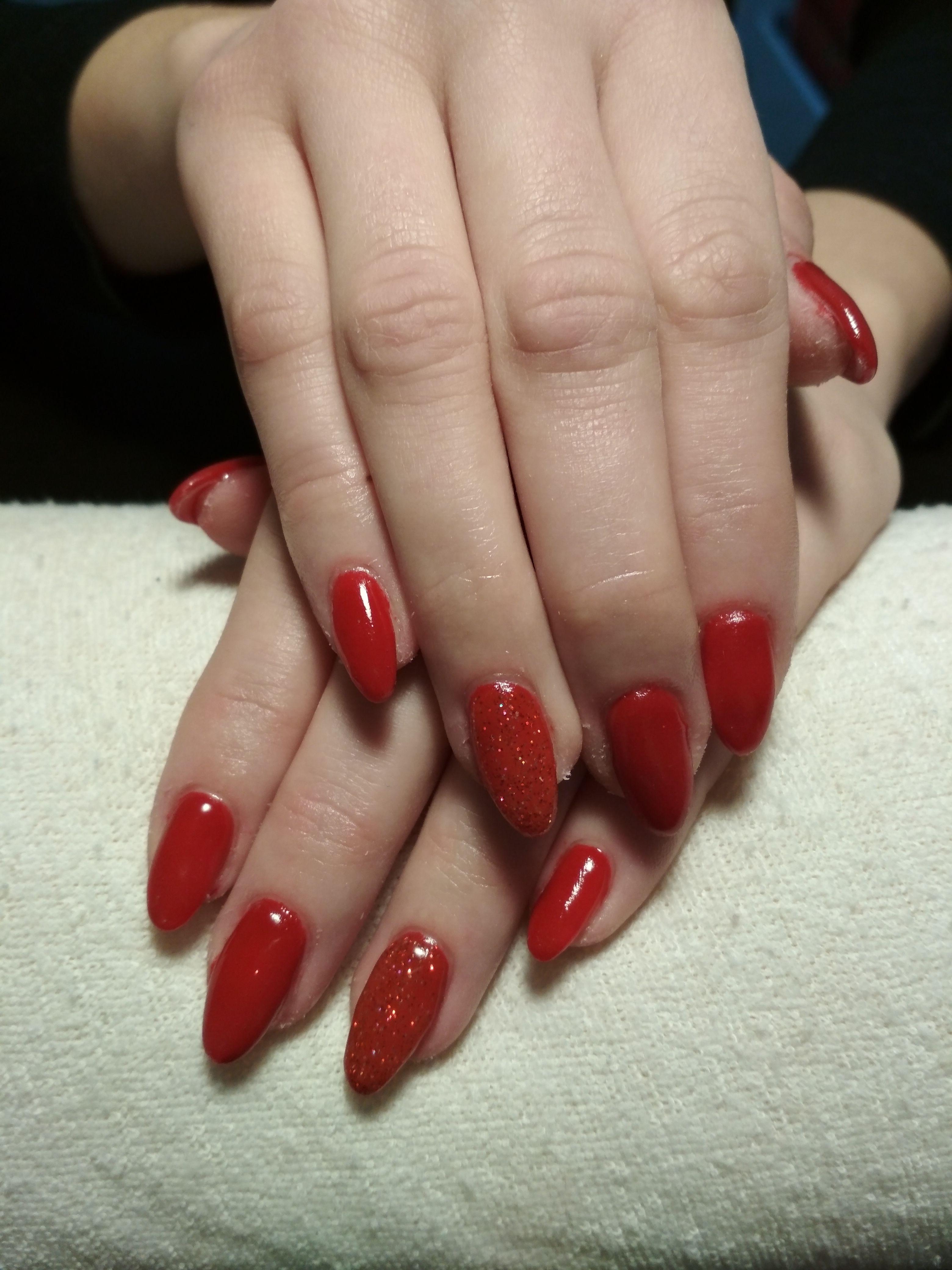 Red Nails Red Gel Red Glitter Gel Gelove Nehty Nehty