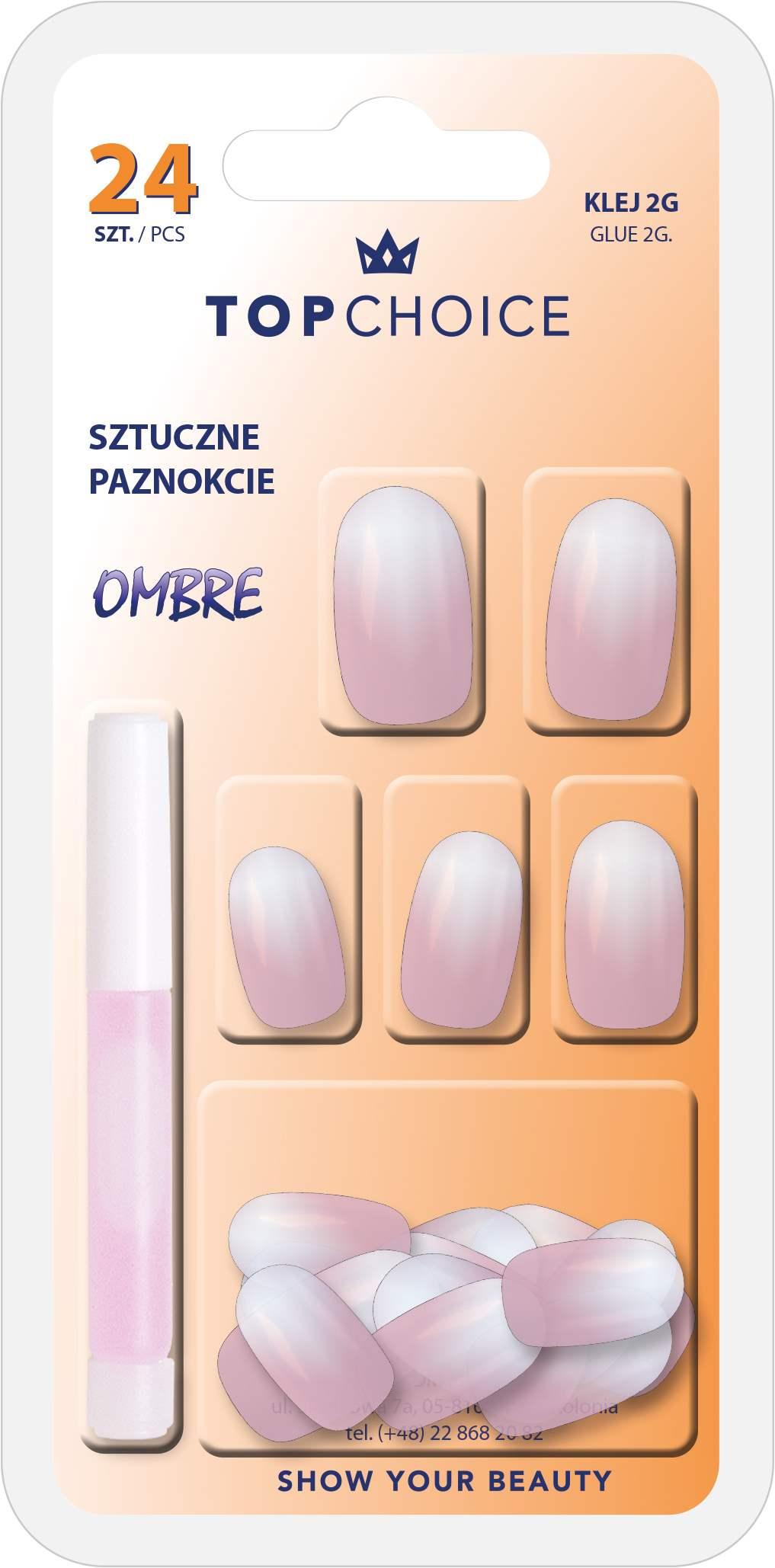 Top Choice Umele Nalepovaci Nehty Ombre 24ks 2g Pink Lepidlo 78019
