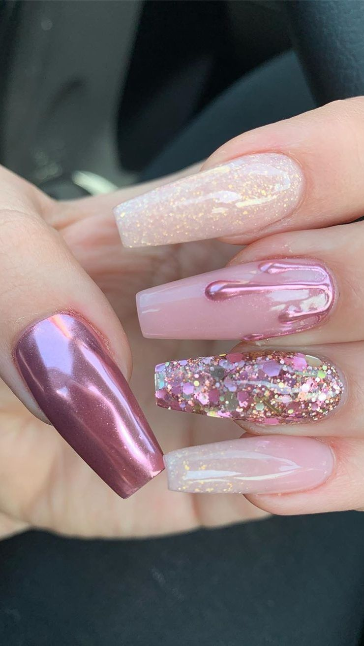 44 Best Coffin Nail Gel Nail Designs For Summer 2019 Page 4 Of 43 In 2020 Gelove Nehty Design Nehtu Nehty