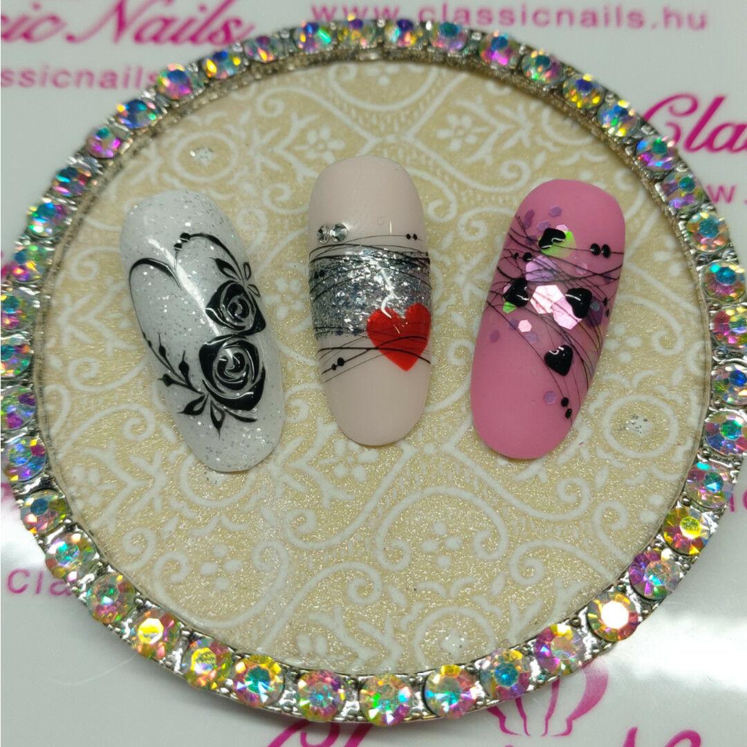 Nail Art Glitteres Pokhalo Szeles Valentin Napi Kormok