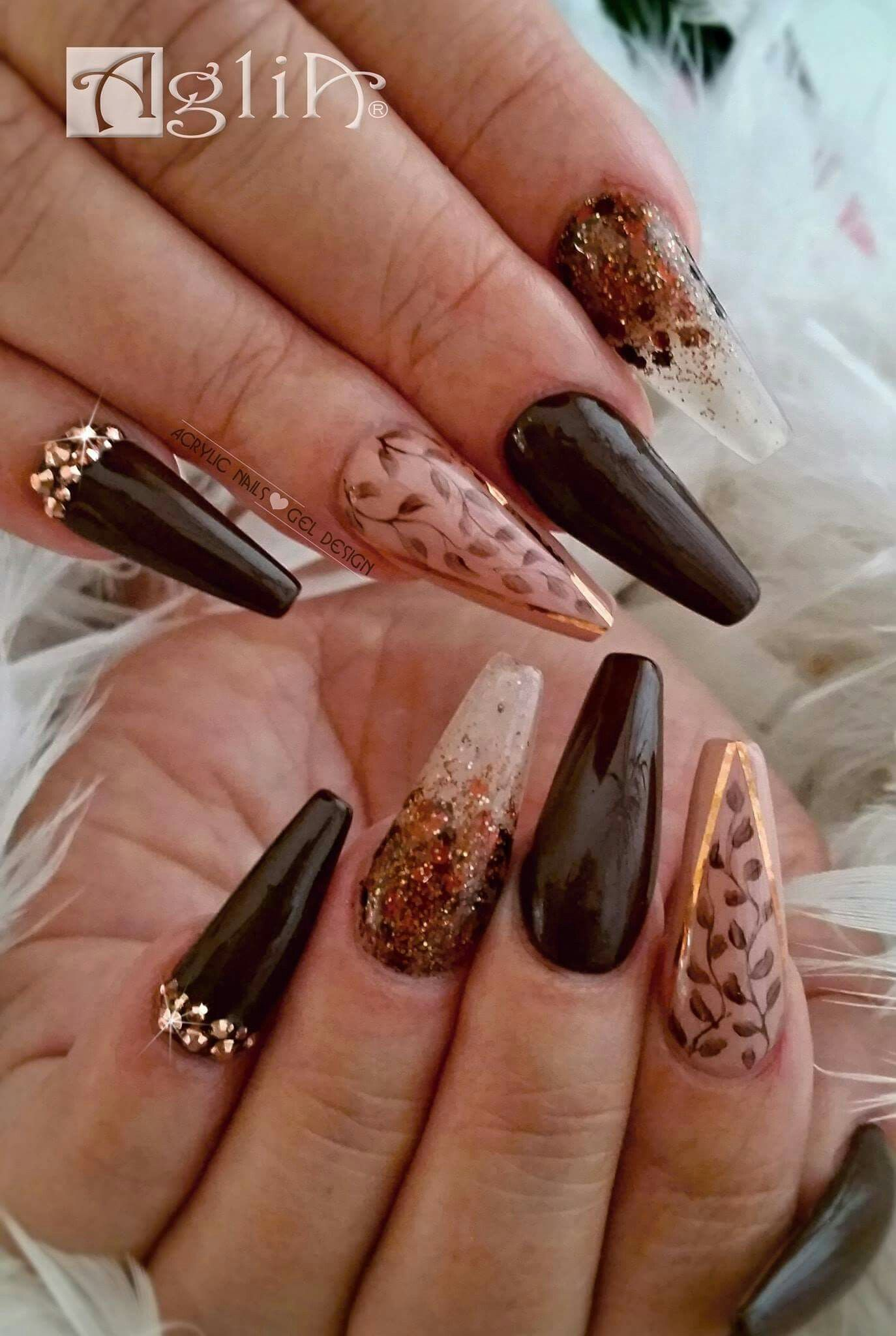 Acrylic Nails Gel Design Dark Nails Chocolate Fall Nails 2018 Nehty