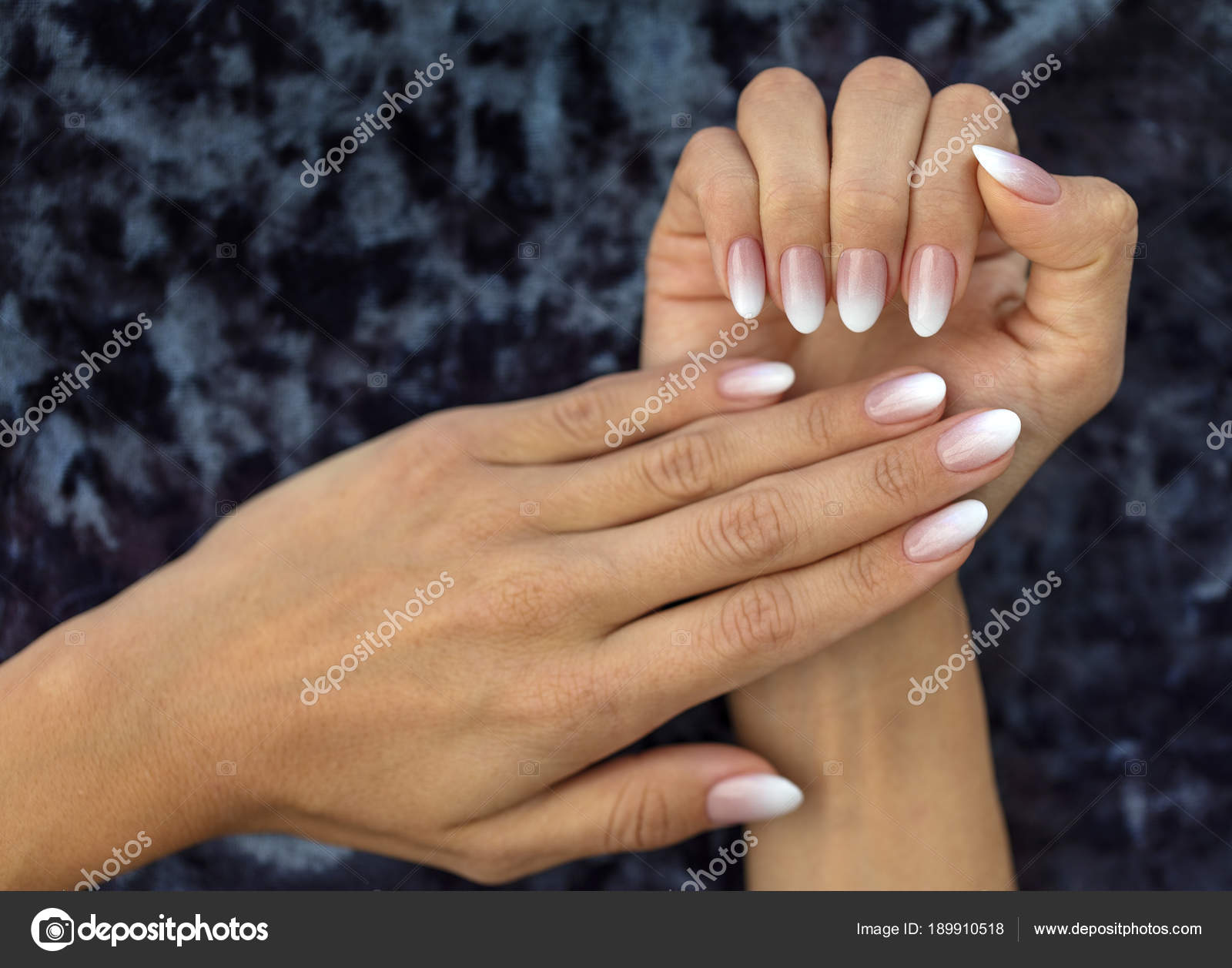 Cute Peach Nails Manicure Design French Ombre Peach And White Stock Photo C Photosergii Gmail Com 189910518