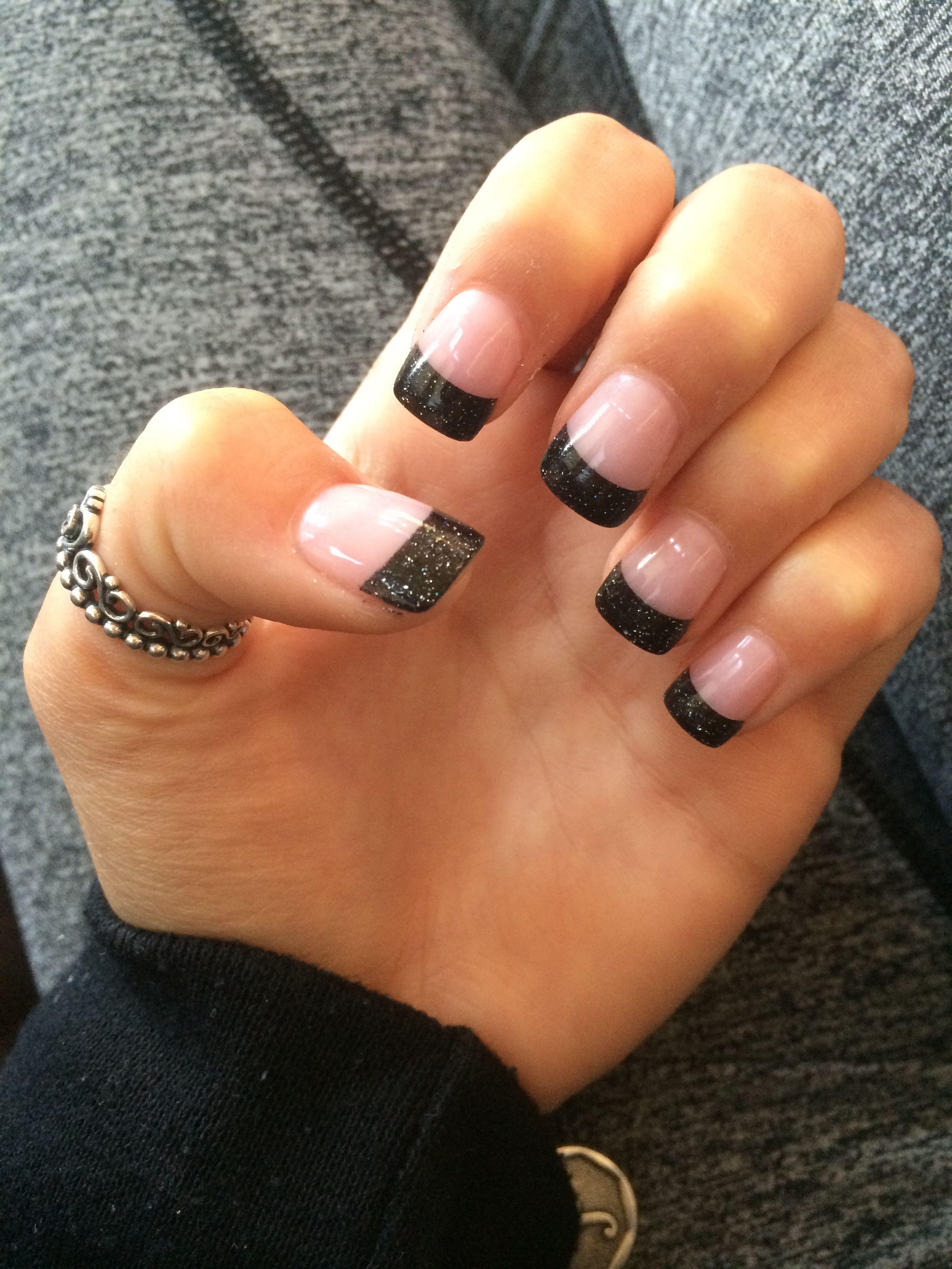 Solar Black Tip Nails Design Nehtu Nehty Design