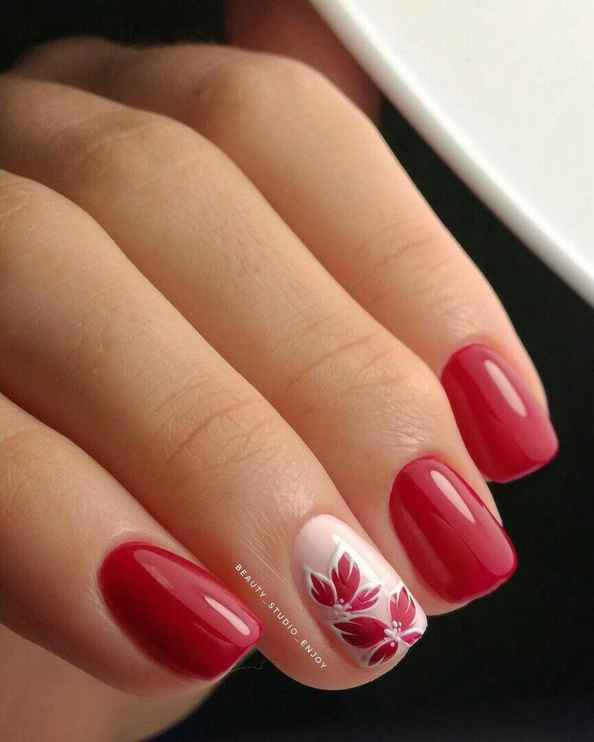 Pretty Red And Pink Nails Cervene Nehty Gelove Nehty Design Nehtu