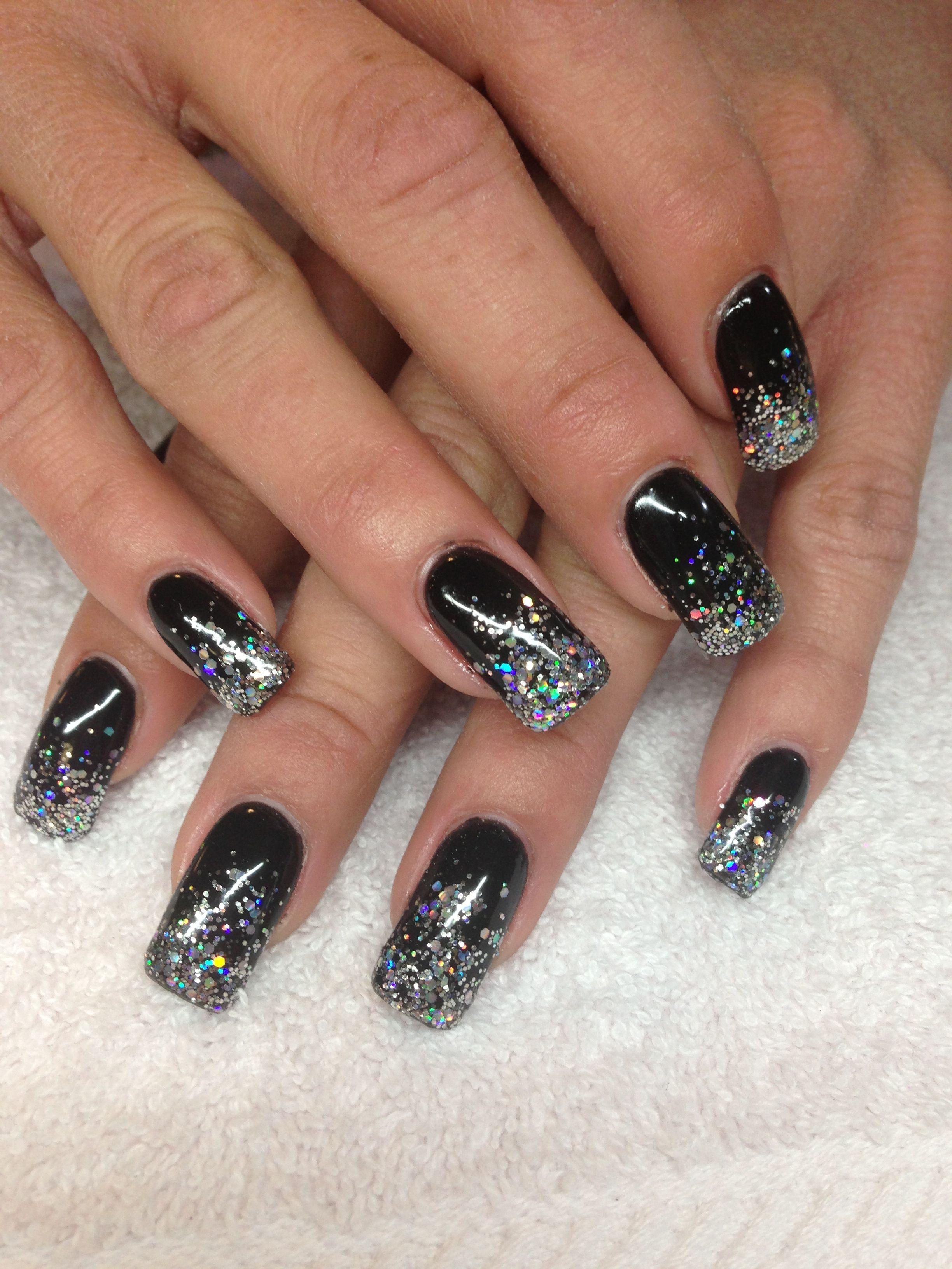Black And Silver Nails Gelove Nehty Nehty Cerne Nehty