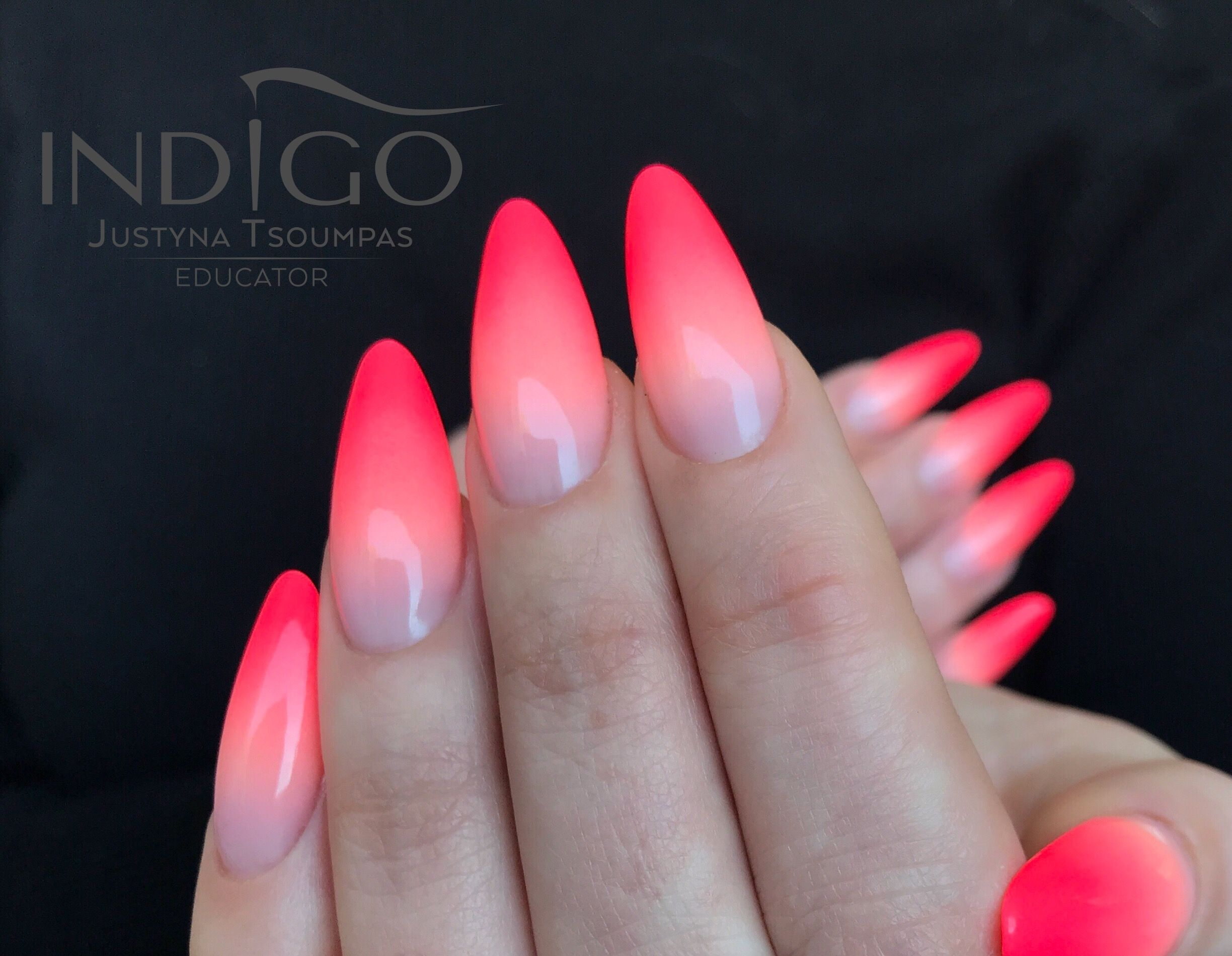 Neon Ombre Indigo Nails Pink Ombre Nails Ombre Nails Nail Designs Hot Pink